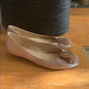 Nine West tan cream leather flats size 8M